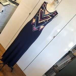 Navy blue maxi dress with graphic detail